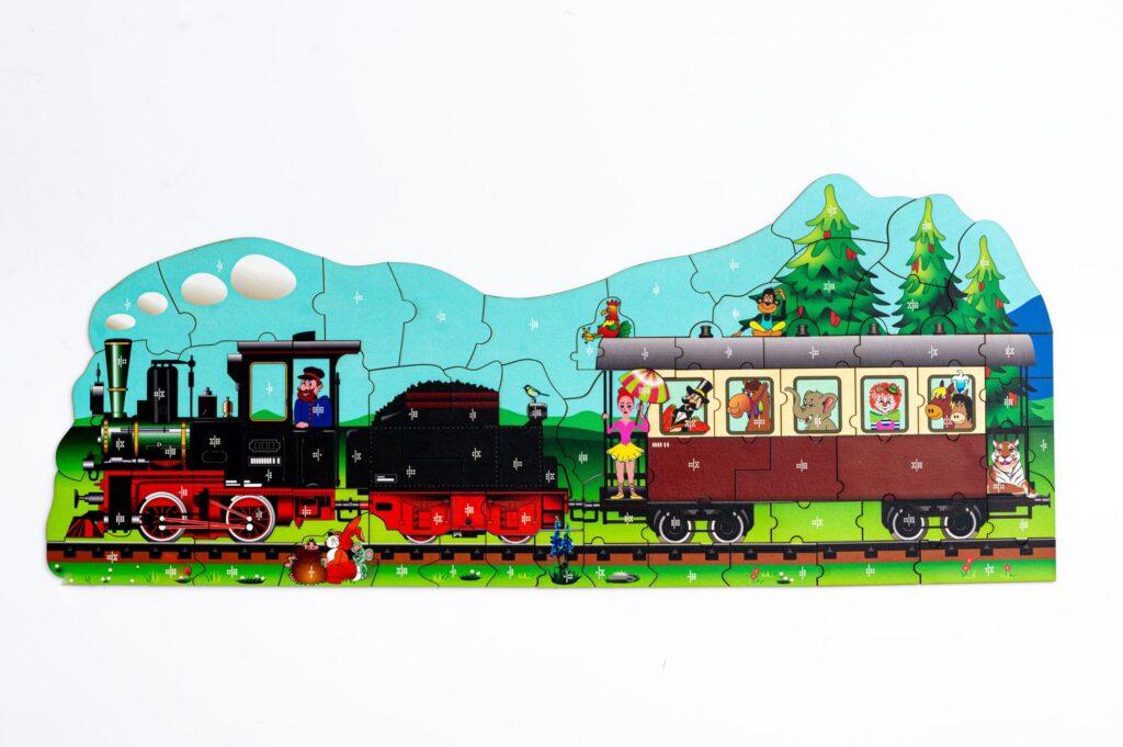 Dampflokomotive Puzzle und Würfelspiel für Kinder ab 10 Jahren