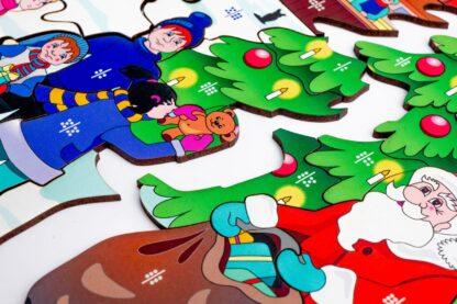Weihnachtsmarkt Puzzle und Würfelspiel aus Holz für Kinder ab 10 Jahren