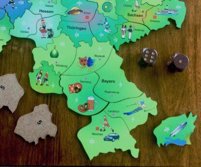 Deutschlandkarte Puzzle und Würfelspiel für Kinder