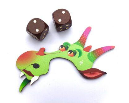 Drache Puzzleteil mit Würfel