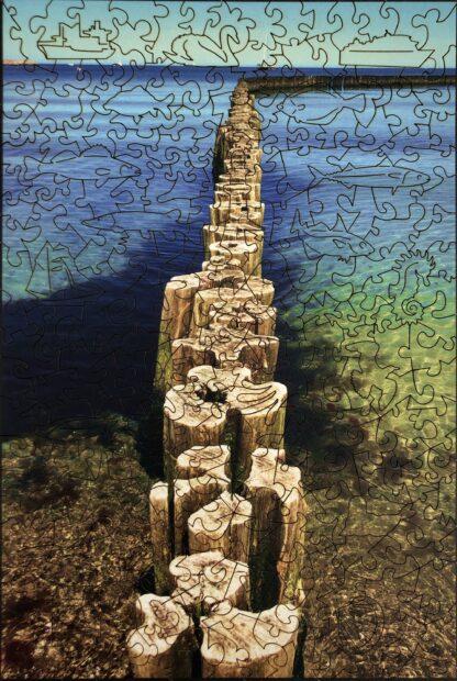 Holzpuzzle Ostsee für Erwachsene Gesamtansicht mit Cut