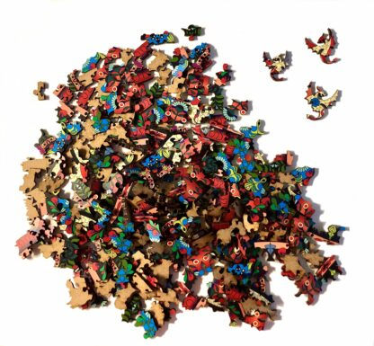 Holzpuzzle Mandala Drache einzelne Teile