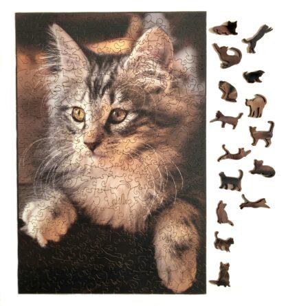 Ragnar Holzpuzzle von Fragmentis mit norwegischer Waldkatze und Motivteilen