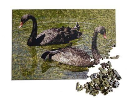 Black Beauties Holzpuzzle für Erwachsene mit zwei schwarzen Schwänen mit Puzzleteilen