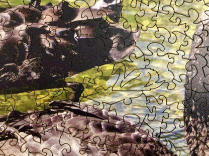 Black Beauties Holzpuzzle für Erwachsene von Fragmentis Detail Schnitt mit Schwan