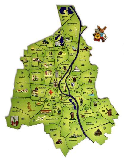 Puzzle- und Würfelspiel Magdeburg für Kinder von Fragmentis Ansicht Karte